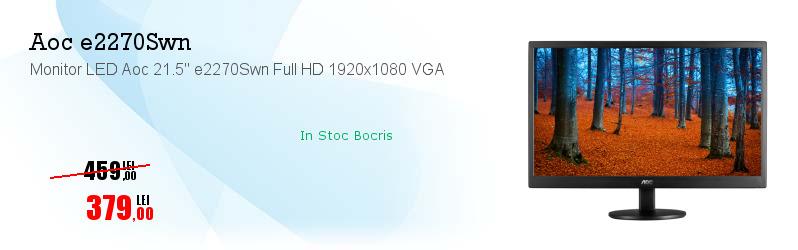 """Monitor LED Aoc 21.5"""" e2270Swn Full HD 1920x1080 VGA"""