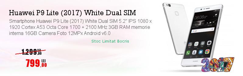 "Smartphone Huawei P9 Lite (2017) White Dual SIM 5.2"" IPS 1080 x 1920 Cortex A53 Octa Core 1700 + 2100 MHz 3GB RAM memorie interna 16GB Camera Foto 12MPx Android v6.0"