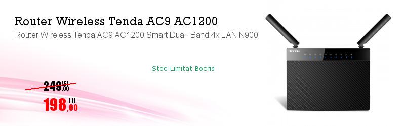 Router Wireless Tenda AC9 AC1200 Smart Dual- Band 4x LAN N900