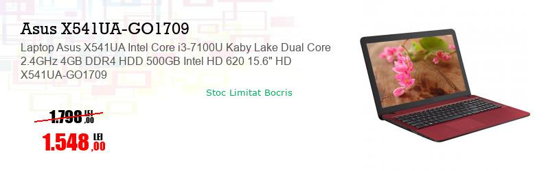 "Laptop Asus X541UA Intel Core i3-7100U Kaby Lake Dual Core 2.4GHz 4GB DDR4 HDD 500GB Intel HD 620 15.6"" HD X541UA-GO1709"