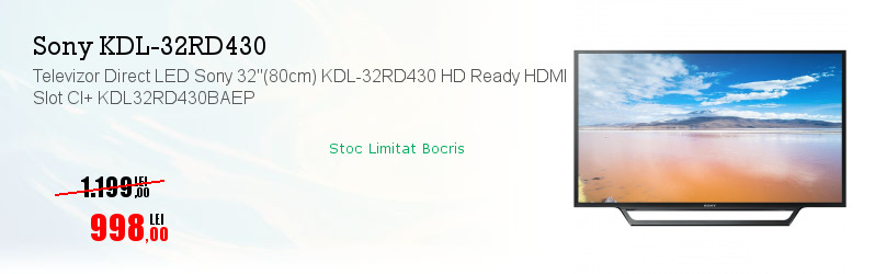 "Televizor Direct LED Sony 32""(80cm) KDL-32RD430 HD Ready HDMI Slot CI+ KDL32RD430BAEP"