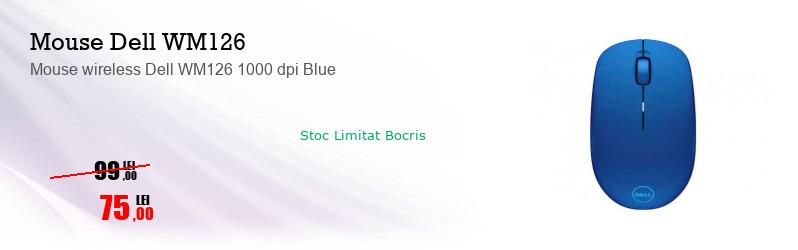Mouse wireless Dell WM126 1000 dpi Blue