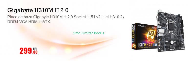 Placa de baza Gigabyte H310M H 2.0 Socket 1151 v2 Intel H310 2x DDR4 VGA HDMI mATX