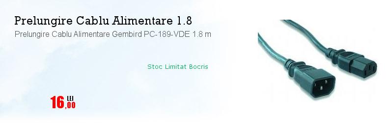 Prelungire Cablu Alimentare Gembird PC-189-VDE 1.8 m