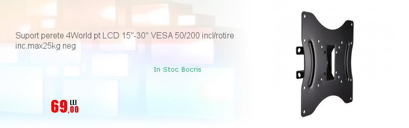 Suport perete 4World pt LCD 15''-30'' VESA 50/200 incl/rotire inc.max25kg neg