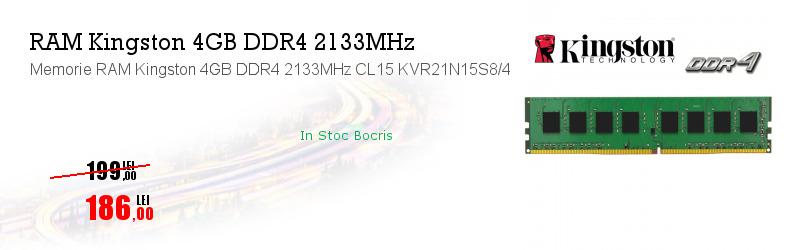 Memorie RAM Kingston 4GB DDR4 2133MHz CL15 KVR21N15S8/4