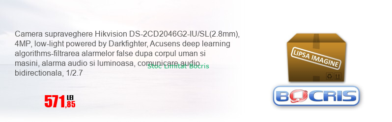 Camera supraveghere Hikvision DS-2CD2046G2-IU/SL(2.8mm), 4MP, low-light powered by Darkfighter, Acusens deep learning algorithms-filtrarea alarmelor false dupa corpul uman si masini, alarma audio si luminoasa, comunicare audio bidirectionala, 1/2.7
