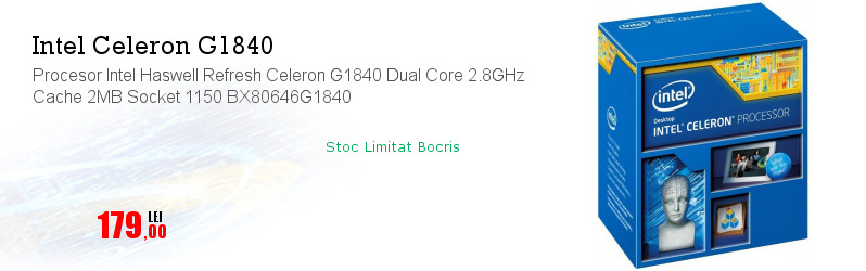 Procesor Intel Haswell Refresh Celeron G1840 Dual Core 2.8GHz Cache 2MB Socket 1150 BX80646G1840