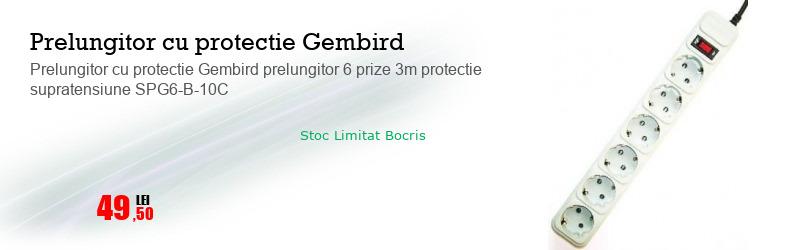 Prelungitor cu protectie Gembird prelungitor 6 prize 3m protectie supratensiune SPG6-B-10C