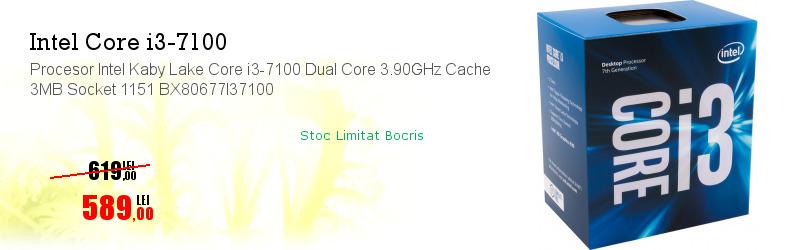 Procesor Intel Kaby Lake Core i3-7100 Dual Core 3.90GHz Cache 3MB Socket 1151 BX80677I37100
