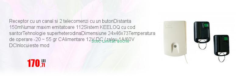Receptor cu un canal si 2 telecomenzi cu un butonDistanta 150mNumar maxim emitatoare 112Sistem KEELOQ cu cod saritorTehnologie superheterodinaDimensiune 24x46x73Temperatura de operare -20 ~ 55 gr CAlimentare 12V DC / releu 1A/60V DCInlocuieste mod
