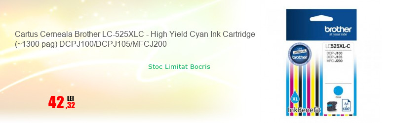 Cartus Cerneala Brother LC-525XLC - High Yield Cyan Ink Cartridge (~1300 pag) DCPJ100/DCPJ105/MFCJ200
