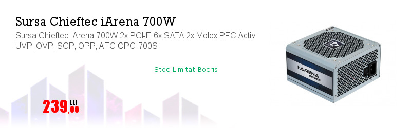 Sursa Chieftec iArena 700W 2x PCI-E 6x SATA 2x Molex PFC Activ UVP, OVP, SCP, OPP, AFC GPC-700S