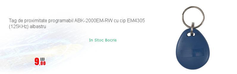 Tag de proximitate programabil ABK-2000EM-RW cu cip EM4305 (125KHz) albastru
