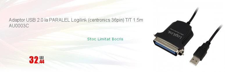 Adaptor USB 2.0 la PARALEL Logilink (centronics 36pin) T/T 1.5m AU0003C