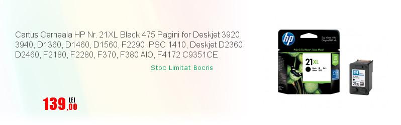 Cartus Cerneala HP Nr. 21XL Black 475 Pagini for Deskjet 3920, 3940, D1360, D1460, D1560, F2290, PSC 1410, Deskjet D2360, D2460, F2180, F2280, F370, F380 AIO, F4172 C9351CE