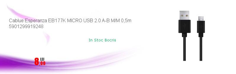 Cablue Esperanza EB177K MICRO USB 2.0 A-B M/M 0,5m 5901299919248