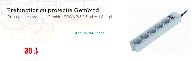 Prelungitor cu protectie Gembird SPG3-B-6C 5 prize 1.8m gri