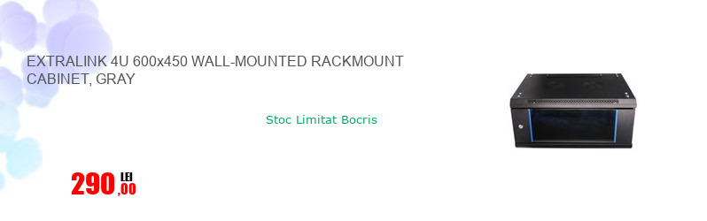 EXTRALINK 4U 600x450 WALL-MOUNTED RACKMOUNT CABINET, GRAY
