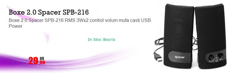 Boxe 2.0 Spacer SPB-216 RMS 3Wx2 control volum mufa casti USB Power