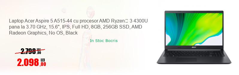 "Laptop Acer Aspire 5 A515-44 cu procesor AMD Ryzen� 3 4300U pana la 3.70 GHz, 15.6"", IPS, Full HD, 8GB, 256GB SSD, AMD Radeon Graphics, No OS, Black"