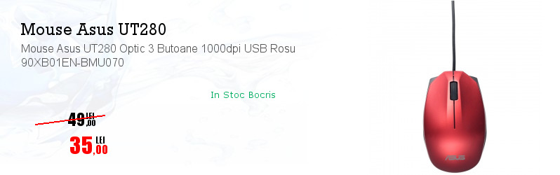 Mouse Asus UT280 Optic 3 Butoane 1000dpi USB Rosu 90XB01EN-BMU070