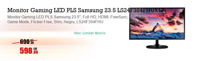 "Monitor Gaming LED PLS Samsung 23.5"", Full HD, HDMI, FreeSync, Game Mode, Flicker Free, Slim, Negru, LS24F354FHU"