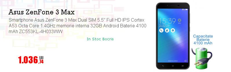 "Smartphone Asus ZenFone 3 Max Dual SIM 5.5"" Full HD IPS Cortex A53 Octa Core 1.4GHz memorie interna 32GB Android Baterie 4100 mAh ZC553KL-4H033WW"