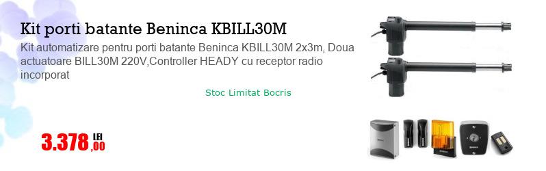 Kit automatizare pentru porti batante Beninca KBILL30M 2x3m, Doua actuatoare BILL30M 220V,Controller HEADY cu receptor radio incorporat