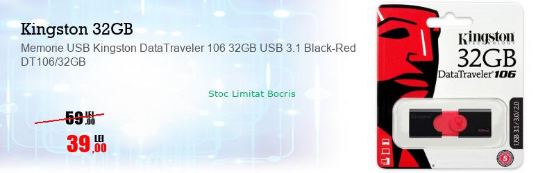Memorie USB Kingston DataTraveler 106 32GB USB 3.1 Black-Red DT106/32GB