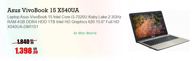 "Laptop Asus VivoBook 15 Intel Core i3-7020U Kaby Lake 2.3GHz RAM 4GB DDR4 HDD 1TB Intel HD Graphics 620 15.6"" Full HD X540UA-DM1151"