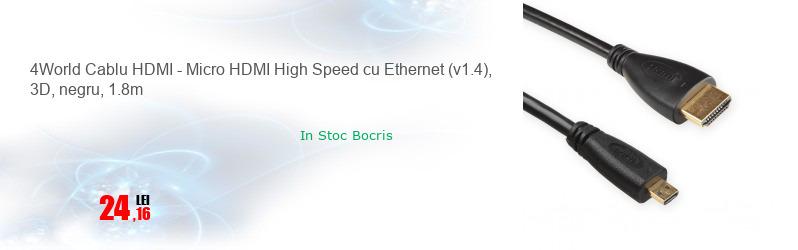 4World Cablu HDMI - Micro HDMI High Speed cu Ethernet (v1.4), 3D, negru, 1.8m