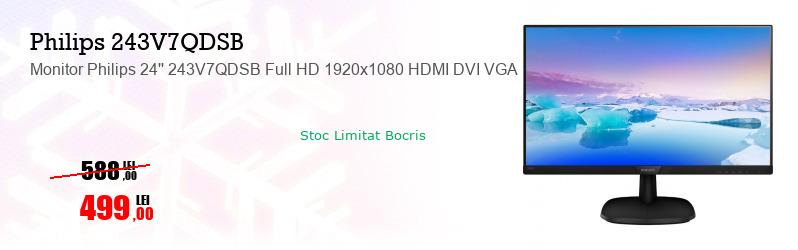 Monitor Philips 24'' 243V7QDSB Full HD 1920x1080 HDMI DVI VGA