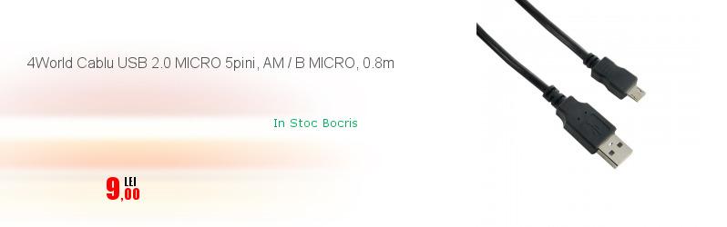 4World Cablu USB 2.0 MICRO 5pini, AM / B MICRO, 0.8m