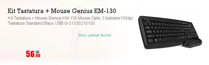 Kit Tastatura + Mouse Genius KM-130 Mouse Optic 3 butoane100dpi Tastatura Standard Black USB G-31330210100