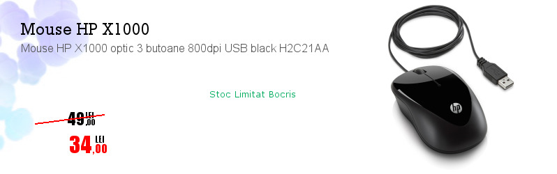 Mouse HP X1000 optic 3 butoane 800dpi USB black H2C21AA