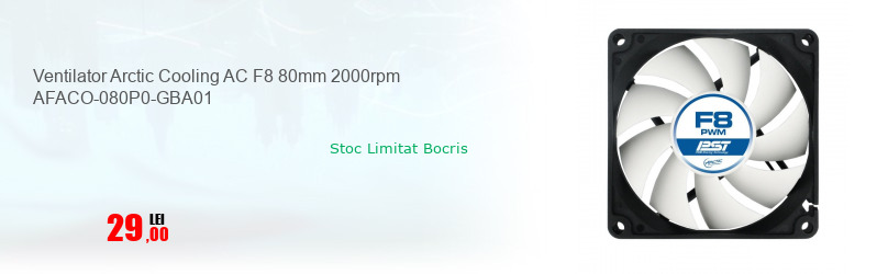 Ventilator Arctic Cooling AC F8 80mm 2000rpm AFACO-080P0-GBA01