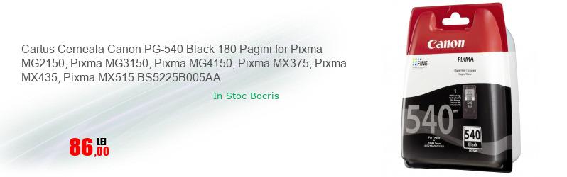Cartus Cerneala Canon PG-540 Black 180 Pagini for Pixma MG2150, Pixma MG3150, Pixma MG4150, Pixma MX375, Pixma MX435, Pixma MX515 BS5225B005AA