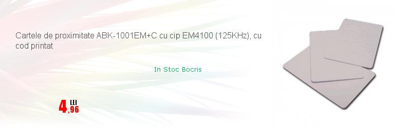 Cartele de proximitate ABK-1001EM+C cu cip EM4100 (125KHz), cu cod printat