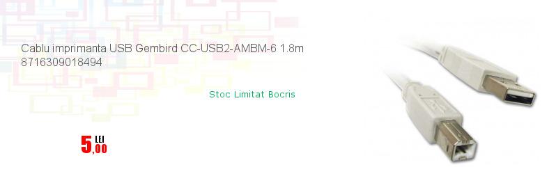 Cablu imprimanta USB Gembird CC-USB2-AMBM-6 1.8m 8716309018494