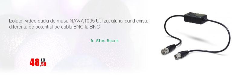 Izolator video bucla de masa NAV-A1005 Utilizat atunci cand exista diferenta de potential pe cablu BNC la BNC