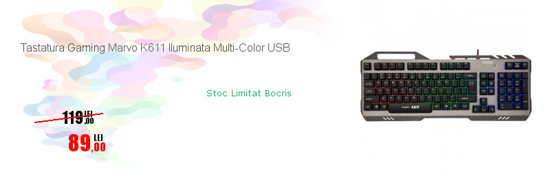 Tastatura Gaming Marvo K611 Iluminata Multi-Color USB
