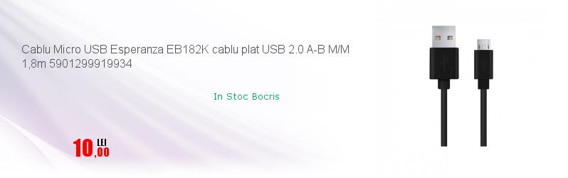 Cablu Micro USB Esperanza EB182K cablu plat USB 2.0 A-B M/M 1,8m 5901299919934