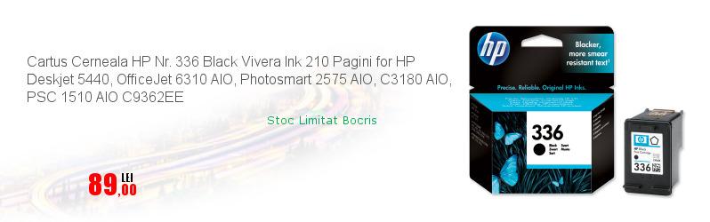 Cartus Cerneala HP Nr. 336 Black Vivera Ink 210 Pagini for HP Deskjet 5440, OfficeJet 6310 AIO, Photosmart 2575 AIO, C3180 AIO, PSC 1510 AIO C9362EE