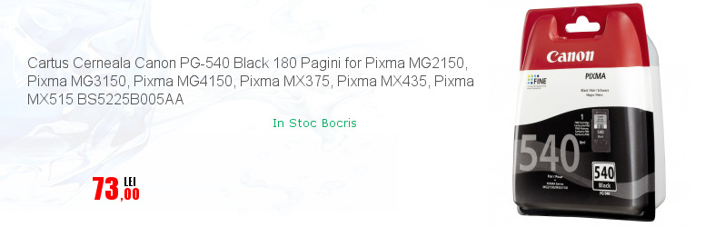 Cartus Cerneala Canon PG-540 Black 180 Pagini for Pixma MG2150, Pixma MG3150, Pixma MG4150, Pixma MX375, Pixma MX435, Pixma MX515 BS5225B005AA