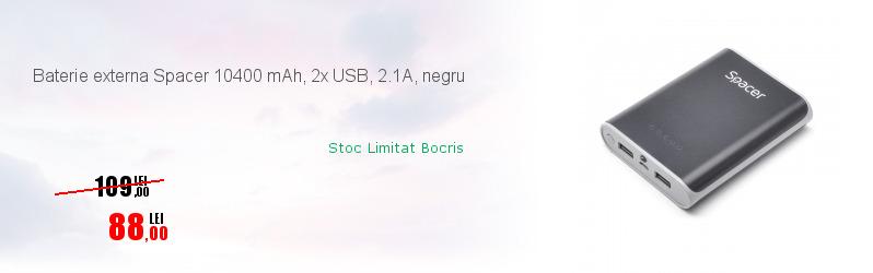Baterie externa Spacer 10400 mAh, 2x USB, 2.1A, negru