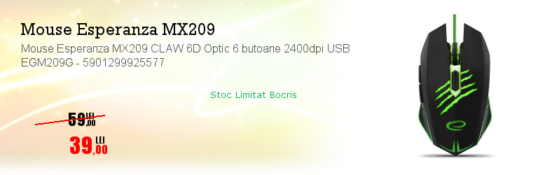 Mouse Esperanza MX209 CLAW 6D Optic 6 butoane 2400dpi USB EGM209G - 5901299925577