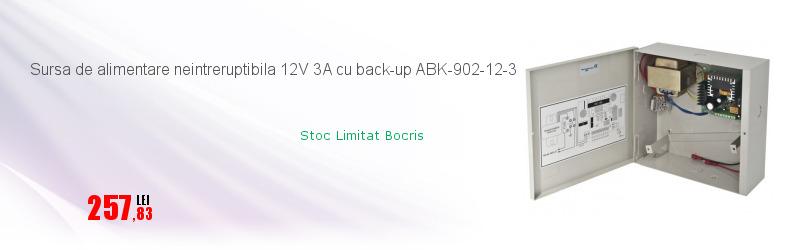 Sursa de alimentare neintreruptibila 12V 3A cu back-up ABK-902-12-3
