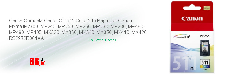 Cartus Cerneala Canon CL-511 Color 245 Pagini for Canon Pixma IP2700, MP240, MP250, MP260, MP270, MP280, MP480, MP490, MP495, MX320, MX330, MX340, MX350, MX410, MX420 BS2972B001AA
