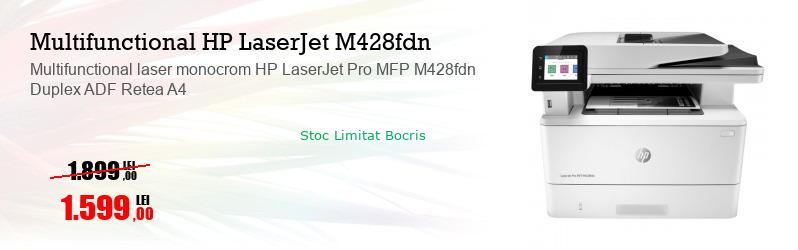 Multifunctional laser monocrom HP LaserJet Pro MFP M428fdn Duplex ADF Retea A4
